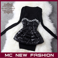2013 Newest Brand Ladies Winter Fashion Elegant Patchwork Design Slim Knitted Shirts Women's Clothing Retail & Wholesale