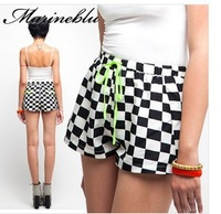2013 Free Shipping Women Fashion Black And White Short Color Lacing High Waist Shorts Women's Pants Cute Shorts