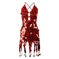 Free shipping Copper Sequins Ballroom Salsa Samba Rumba Tango Rhythm Latin Dance Dress W0021