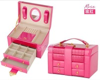 Free Shipping   leatherware stock Jewelry box princess fashion large capacity High-end cosmetic box married birthday gift