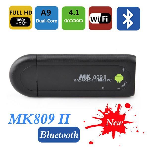 Mk809 ii Mini PC Dual-Core CPU+Bluetooth 2.1 Black Color Android 4.1 TV Box/IPTV Player 1GB RAM, 8GB ROM RK3066 1.6GHZ(China (Mainland))