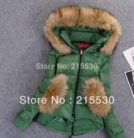 2014 winter female women fashion down jackets coat ears large fur collar short down coat cloak design thicken down jacket