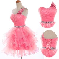 New design!Free Shipping colorful Sweetheart Sequin Bodice short Party Dresses Homecoming Cocktail dress Formal Prom Gown CL4589