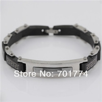 Punk MensTop Stainless Steel Black & Silver Tone Plain Block Link Chain Safety Clasp Bangle Bracelet Christmas Gift Jewelry