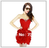 New Nightclub Strapless Backless Sexy Slimming Three-dimensional Cascade Chiffon Ruffled Dress