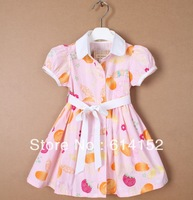 Retail 100% cotton Floral Printed baby girls summer dress polo kids children dresses princess baby girls clothing 1-6years