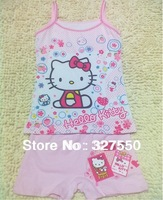 Retails!Popular summer clothing set Lycra cotton children's cartoon underwear girl vest suit+short pants ,baby girls set(GT-291)