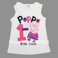 NEW Free shipping 5pcs/lot  children clothes girls cartoon tank girls summer t-shirt girls peppa tops tees