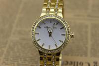 New 2013 Luxury Fashion Gold Rose Gold Silver Steel Brand Crystal Quartz Business Wrist Watch for Man Women /w Logo