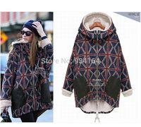 2015 Big Promothion Coat UNION JACK FLAG Printed Fleece Linning Zipper Lady Coat Autumn Winter Free Shipping