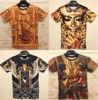 2014 New arrival Fashion women/men 3D Medusa T-shirt print 3d Golden Medusa sexy top tees 2 sides print clothes MDT89