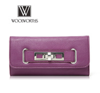 Simple flip turn buckle decorated Ms. Long wallet, fashion lady role selection.Korean version of the new edition handbags