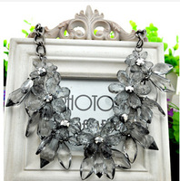 free shipping Hot brand z necklace  chunky luxury choker statement necklace Transparent flower Necklaces & Pendants  XL-264