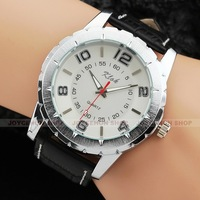 Simple Men White Dial Quartz Analog Business Leather Band Wrist Watch Q771