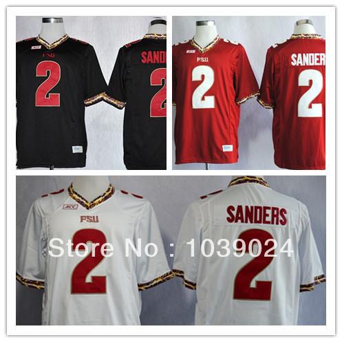 NWT FSU #2 Deion Sanders Jersey Black Red White Garnet Stitched College Football Florida State Seminoles Deion Sanders Jerseys(China (Mainland))