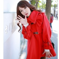 13 autumn and winter hot models sweet Korean women's single-row leather buckle belt hooded cape-style wool coat MC2-1255