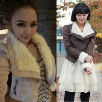 13 Korean Women autumn lamb wool shrug suede leather motorcycle TB3-742