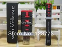 Free shipping cartoon wolverine katana model usb 2.0 memory flash stick thumb pen drive