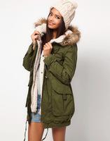 2015 New Autumn Winter Women's Down Parkas Fashion Hooded Slim Long Sleeve Jacket Fur Collar Army Green Cotton Coat