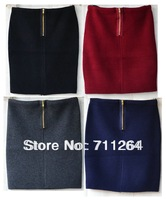 New Women Knit Zipper STRETCH PENCIL MINI SKIRT Casual Dressy Bodycon Slim Skirt