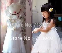 Retail !2014 Children new sleeveless   Princess Dress Girls Toddler 3D Flower Tutu Layered  Party Bow Kids Formal Dress--1pcs