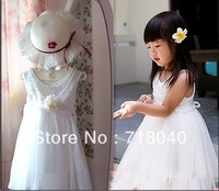 Retail !2014 Children new sleeveless   Princess Dress Girls Toddler 3D Flower Tutu Layered  Party Bow Kids Formal Dress--1pcs