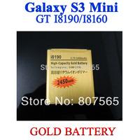 New 2450mAh GOLD Golden business Battery for Samsung GT i8190 Galaxy S3 Siii S111 Mini / Ace 2 i8160 Bateria Batterij AKKU20 pcs
