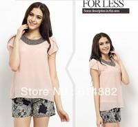 Summer Chiffon Shirt Women Fashion Hand-made Beading Vintage Chiffon Blouses   SL03
