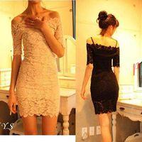 New Summer Dress 2015 Women's Elegant Black White Lace Dress Off Shoulder Short Sleeve Mini Sexy Dresses Vestido De Renda Y5387