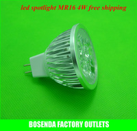 DC 12V 4*1W MR16 High brightness Aluminum warm white/white Non-Dimmable LED spotlight outdoor bulb lamp100pcs/lot free fedex