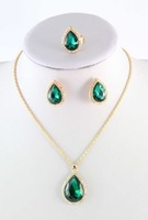 Green Emerald Topaz 18K Gold Plated Emerald Cut Pendant Necklace Earring Ring