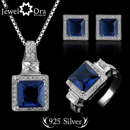 Echte 925 sterling zilver 925 sieraden sets bruiloft kristallen ...