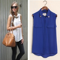 New fashion womens' sexy sequined stud collar blouse shirt vintage sleeveless blouse elegant casual brand designer tops W4272