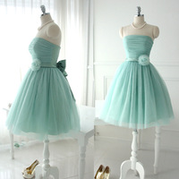 RS001 Real sample hot sale strapless light purple or light green elegant short evening prom dress 2014