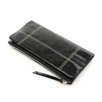 Vintage oil wax cowhide wallet genuine leather women's long design Retro purse fashion ladies zipper hasp clutch pocketbook