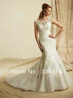 2013 Beading Floor Length White Ivory Mermaid Backless Wedding Dress Custom Size 2 4 6 8 10 12 14 16 18 20++