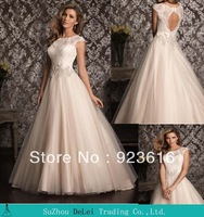 Hot Sell Modest Cap Sleeve Beaded A-Line Wedding Dress