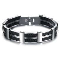 Mens Jewelry Stainless Steel & Black Silicone Link Chain Bracelets Bangles For Men Designer Mens Bracelets Bracciale Wristband