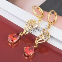 Free shipping!!!Brass,sexy,chinese jewelry, 18K gold plated, with cubic zirconia, nickel, lead & cadmium free, 41x7mm