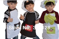 children monkey apron  kids apron set boy and girls cartoon  apron with hat for kindergarten cooking 2-8 year old