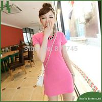 T001 Wholesale 2013 Fashion Short Sleeve Tops For Women O Neck 100% Cotton Long Basic T Shirt Woman