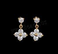 18K Gold Plated Earrings for Women 2014 New Earings Fashion Fine Jewelry Drop Earrings with cubic zirconia, Flower Earring