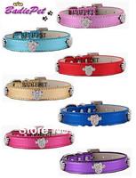MOQ:20pcs!(7colors3sizes)Free Shipping!Crystal Paw Metallic PU Leather Pet Collars S M L