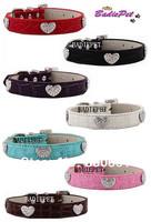 MOQ:20pcs!(7colors3sizes)Free Shipping!Rhinestones Heart Faux Croc Leather Dog Collars S M L