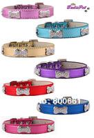 MOQ:20pcs!(7colors3sizes)Free Shipping!Crystal Bone Metallic PU Leather Dog Collars Pet Fashion S M L
