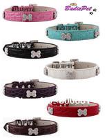 MOQ:20pcs!(7colors3sizes)Free Shipping!Rhinestones Bone Faux Croc Leather Dog Collars S M L