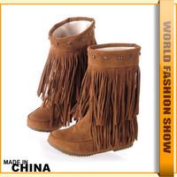 2014 Newest Big Size 34-43 Tassels Decoration Rivets Half Knee High Flat Heels Warm Fur Winter Shoes Snow Boots  JXB956