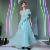2014 New arrival fashion elegant Free ship DORISQUEEN 30946 floor length one shoulder light blue long dresses prom new arrival