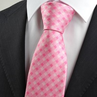 Free shipping New Pink White Cross Checked Pattern JACQUARD WOVEN Men's Tie Necktie