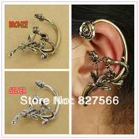 Free Ship $15 Fashion Vintage Statement Punk Gothic Jewelry Silver Snake Rose Nickel Free Women Ear Cuff Stud Earrings A00188